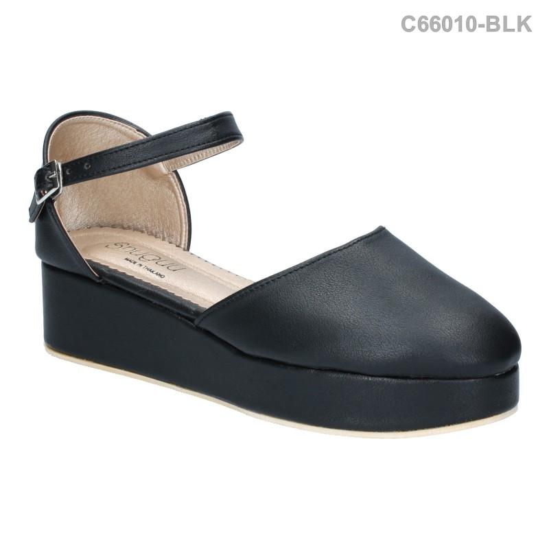 รองเท้าส้นตึก รัดข้อ ปิดปลายเท้า แนววินเทจ (สีดำ )