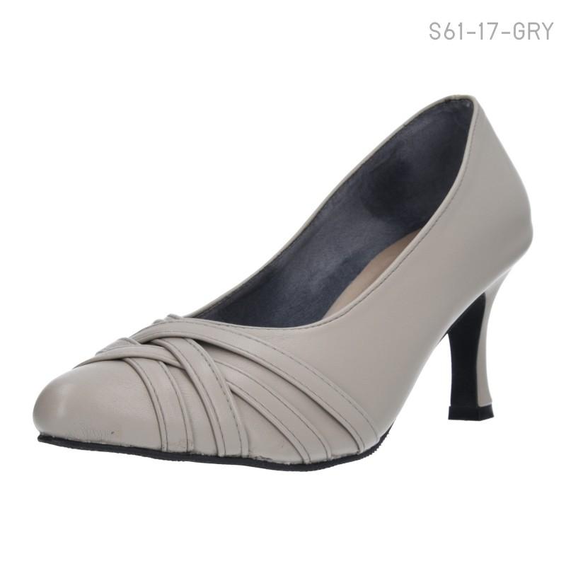 รองเท้าคัทชูส้นสูง หัวแหลมแต่งลายสาน (สีเทา )