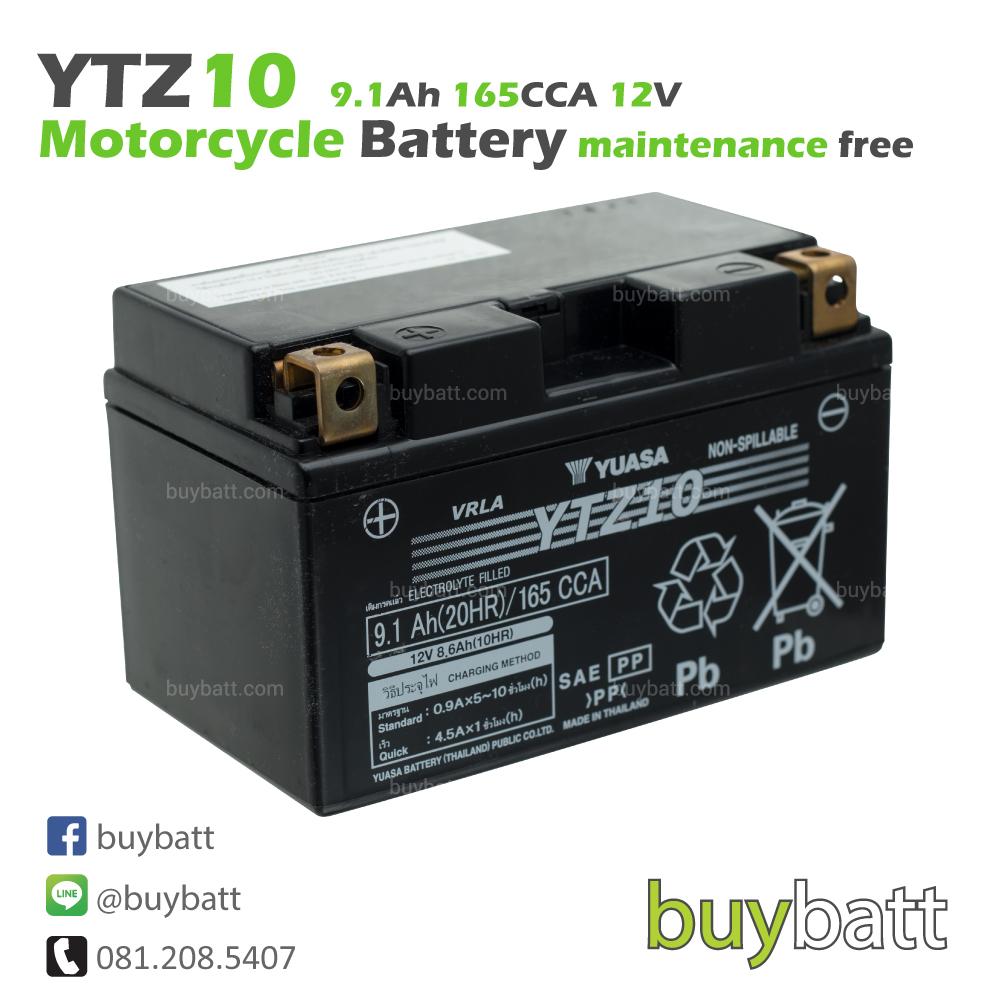 แบตเตอรี่รถมอเตอร์ไซค์ YUASA YTZ10 12V 9.1Ah ของไทย