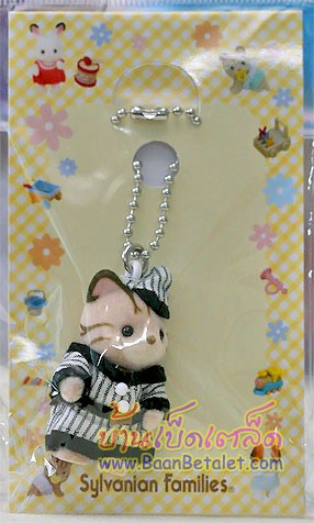 Sylvanian Family Striped Cat Baby (JP) พวงกุญแจตุ๊กตาซิลวาเนียน-เบบี้แมวลายชุดกีฬา