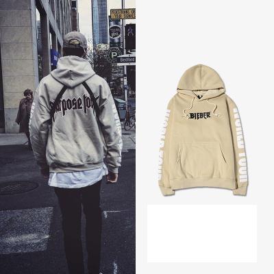 เสื้อฮู้ดแจ็คเก็ตสีเบจ Justin Bieber สกรีนแขนเสื้อสีขาว
