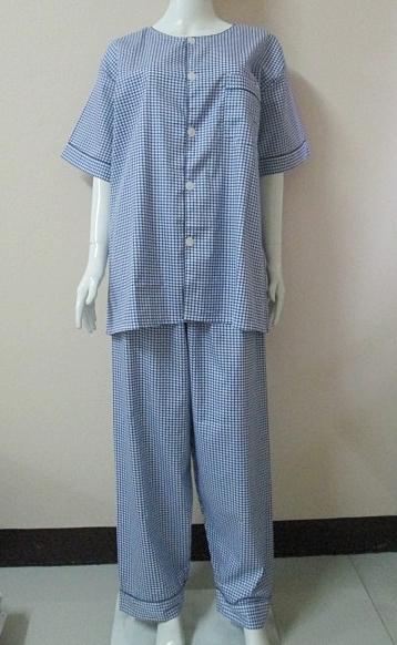 ชุดนอน(ช)กก.ขายาวแขนสั้น ผ้า Cotton เกรด เอ แบบลายสก๊อตเล็ก โทนสีน้ำเงิน คอกลม ขนาดไซส์ XXL
