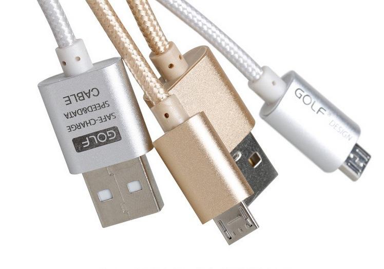สายชาร์จ GOLF แบบถักอย่างดี Micro USB สำหรับมือถือสมาร์ทโฟนทั่วไป