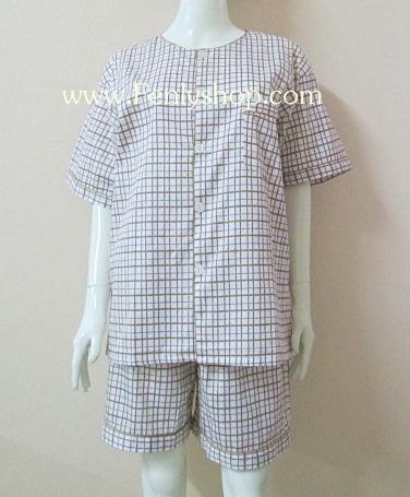 ชุดนอน(ช)กางเกงขาสั้น ผ้า Cotton เกรด เอ แบบลายสีเหลือง คอกลม ฟรีไซส์ (F)