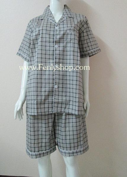 ชุดนอน(ช)กางเกงขาสั้น ผ้า Cotton เกรด เอ แบบลายสก๊อตสีน้ำตาลดำ คอปก ฟรีไซส์ (F)