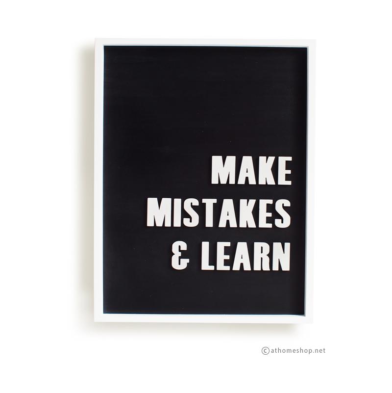 วอลล์อาร์ตตัวอักษร 3 มิติ MAKE MISTAKE & LEARN กรอบขาว