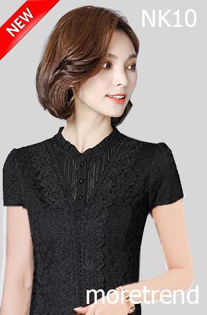 เสื้อลูกไม้แขนสั้นสีดำคุณภาพดี ผ้าลูกไม้เนื้อนิ่มและผ้าซับในเนื้อดี สวมใส่สบายผิว ตัดเย็บเรียบร้อย รหัสNK10