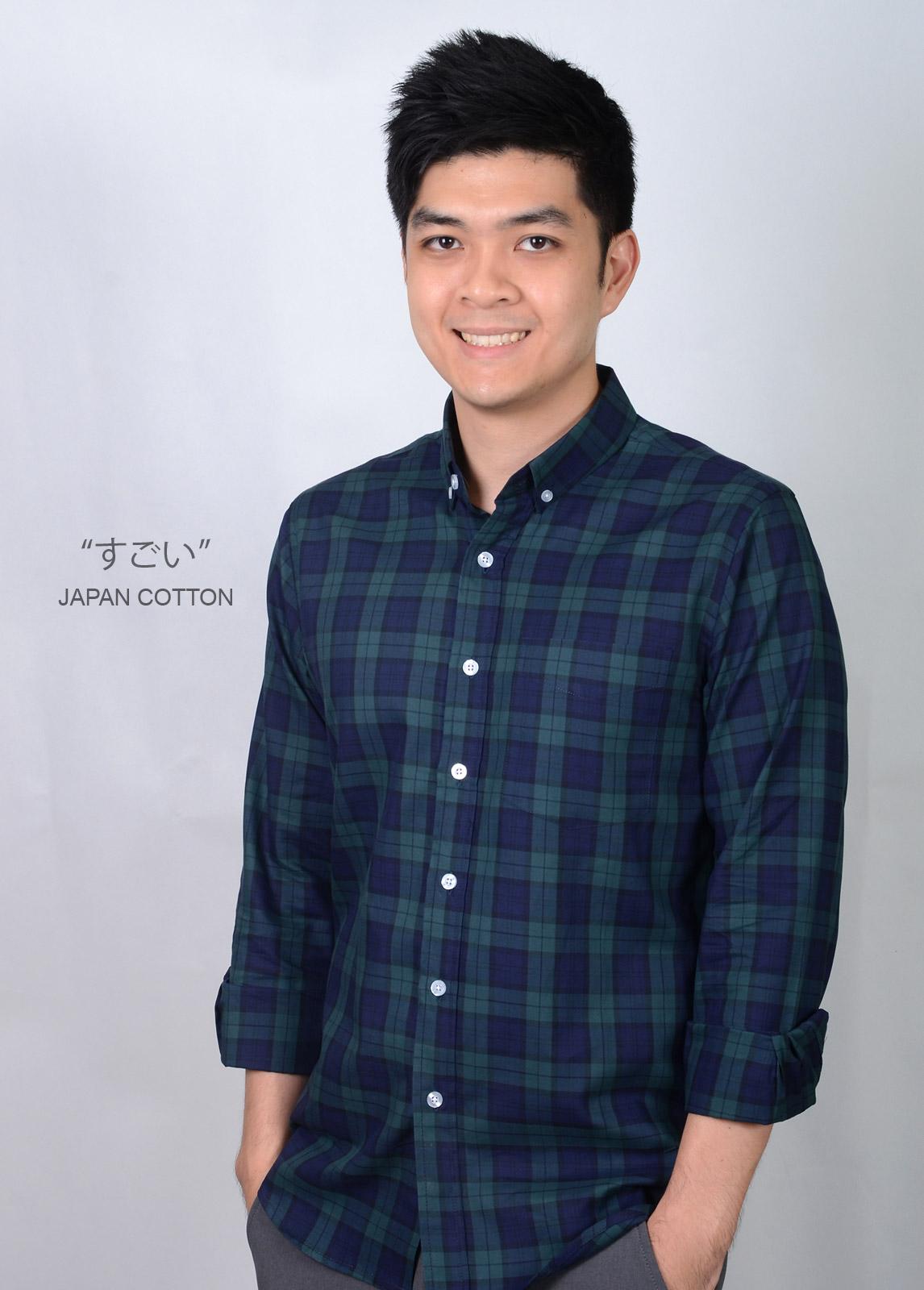 เสื้อเชิ้ตลายสก๊อตสีเขียว ผ้านำเข้าจากญี่ปุ่น