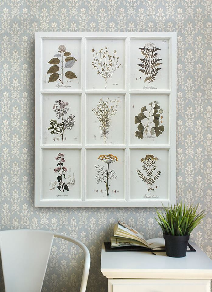 กรอบภาพพิมพ์ดอกไม้สไตล์วินเทจ 9 ช่อง Wall art print - Botanical Gallery
