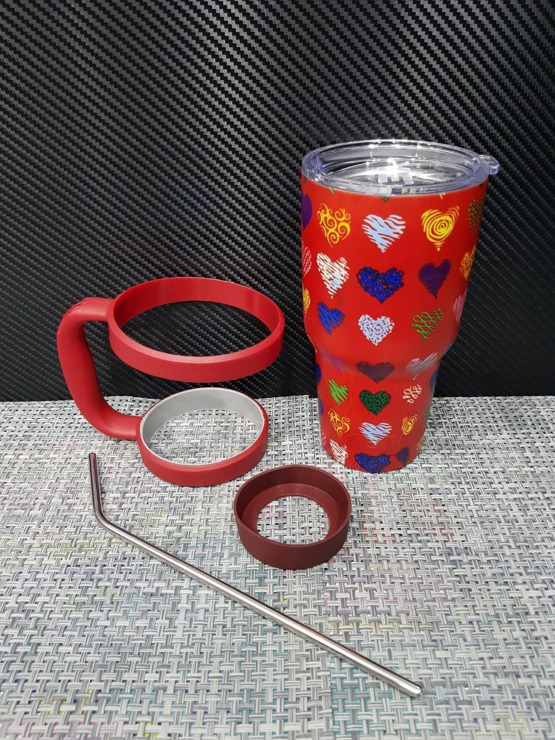 ชุดแก้วเยติ 30 ออนซ์ พื้นสีแดง ลาย หัวใจ