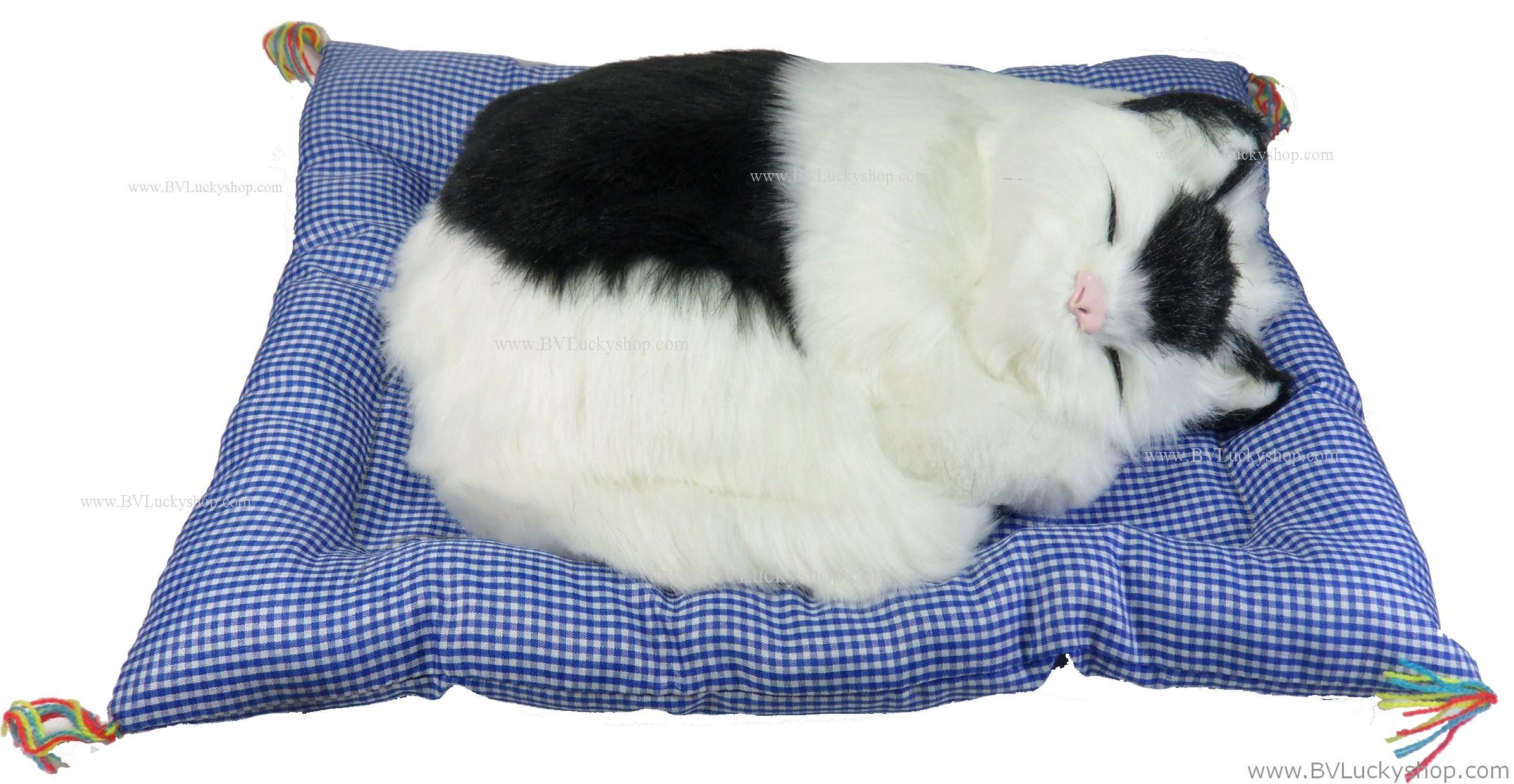 """ตุ๊กตาแมวนอนหลับ มีเสียงร้อง """"เมี้ยวๆๆ I love u"""" (เมื่อไปตบๆที่ตัวแมว) ขนาด 13นิ้วx10นิ้ว [catmeow-L4]"""