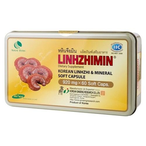 เห็ดหลินจือมิน สายพันธุ์สีแดง Linhzhimin 60 เม็ด x1 กล่อง