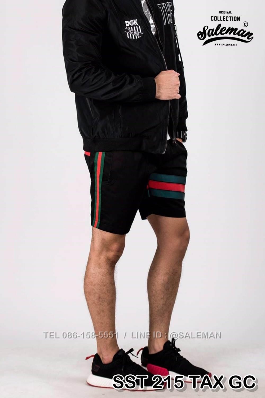 กางเกงขาสั้น พรีเมี่ยม ผ้า COTTON รหัส SST 215 TAX ฺGC สีดำ แถบแท็กเขียวแดง