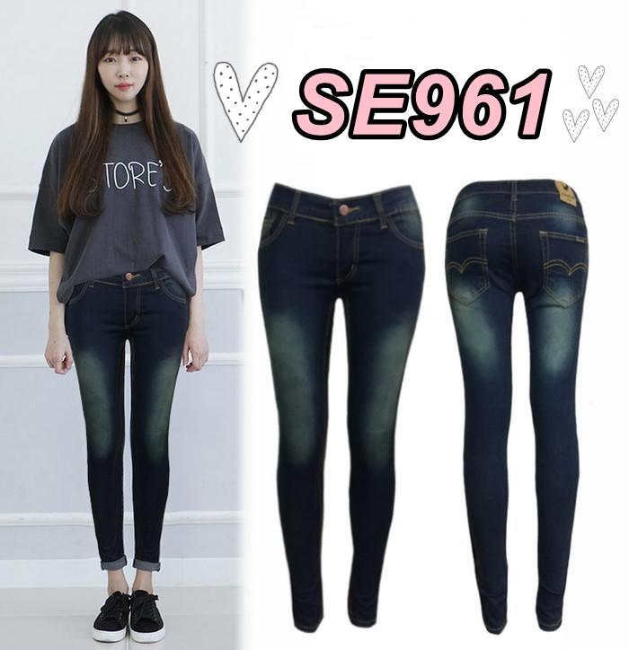 กางเกงยีนส์เอวต่ำขาเดฟ ผ้ายืด สีสนิมเขียว ฟอกด่างสวยเก๋ มี SIZE M,L,XL