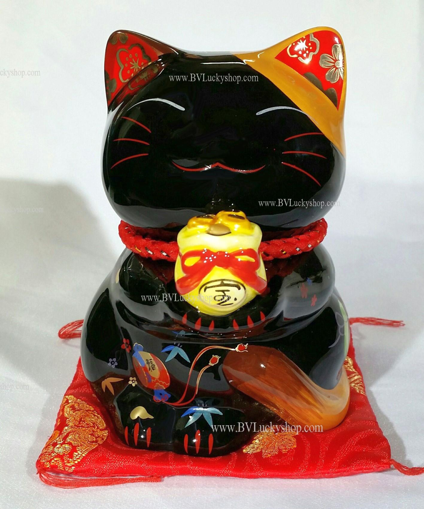 แมวกวัก แมวนำโชค สูง 6 นิ้ว ถือถุงเงินถุงทอง - สีดำ [35587]