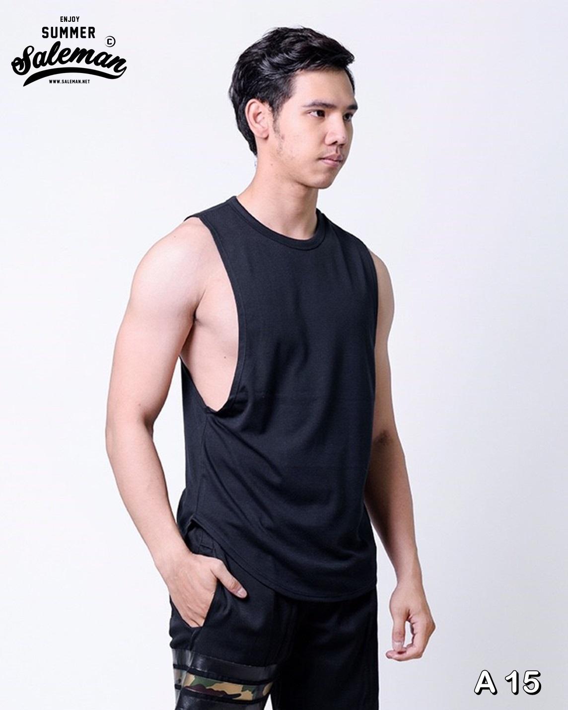 เสื้อกล้าม A 15 สีดำ