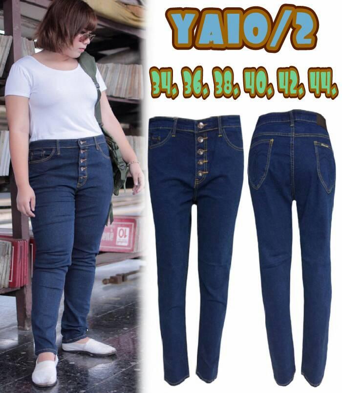 กางเกงยีนส์ผู้หญิงไซส์ใหญ่ สีกรม กระดุม 5 เมฺ็ด บล็อกใหญ่ มี SIZE 34 38