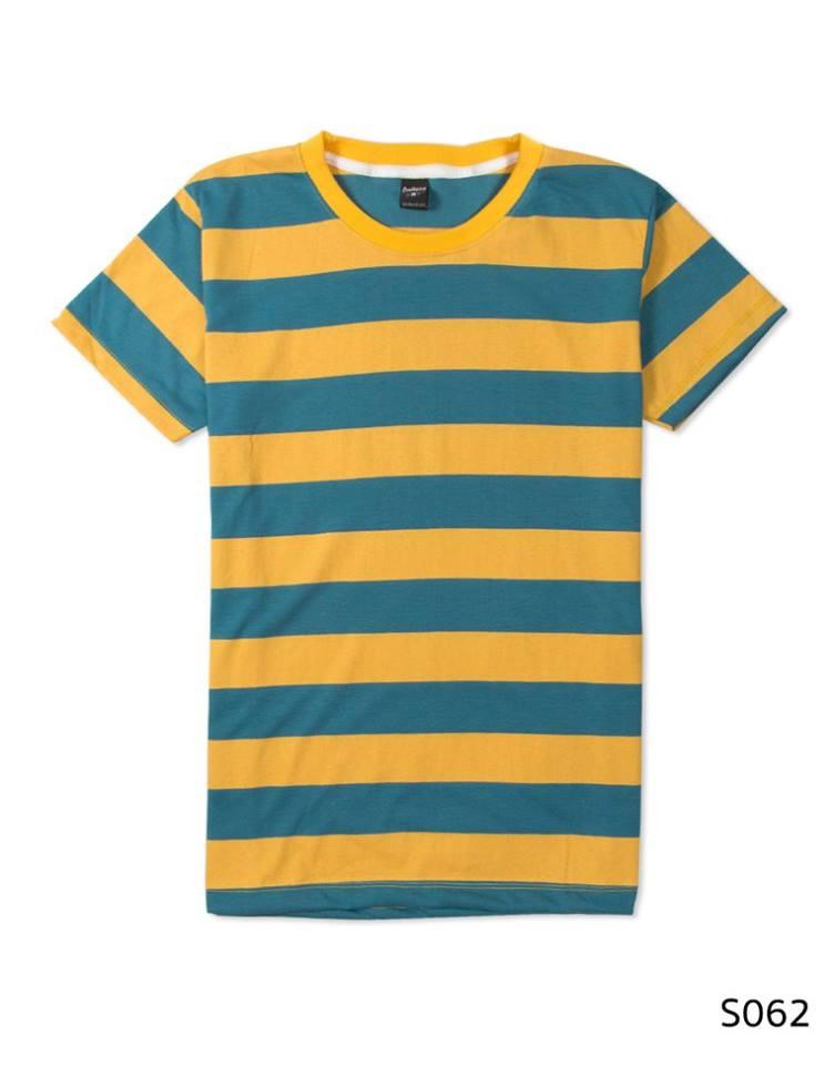 เสื้อยืดคอกลมลายทาง S062 (สีเขียวเหลือง รักบี้)