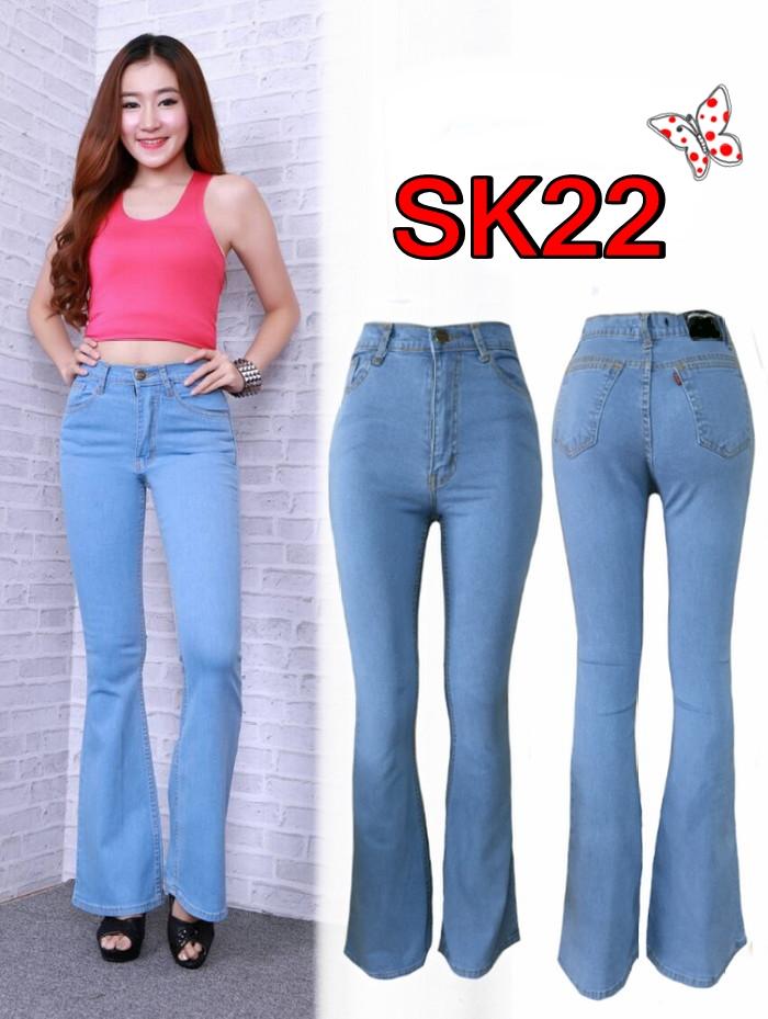 กางเกงยีนส์ขาม้าเอวสูง สีฟ้าขาว เก็บทรงสวย ยาว 41นิ้ว มี SIZE S,M,L,XL