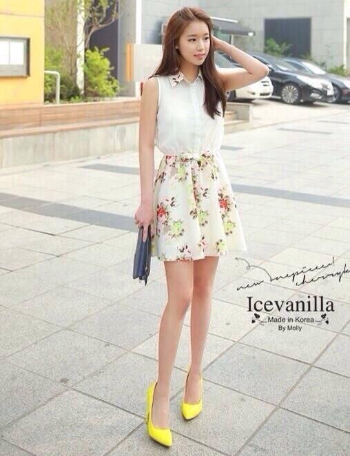 Romantic retro flower sleeveless Dress