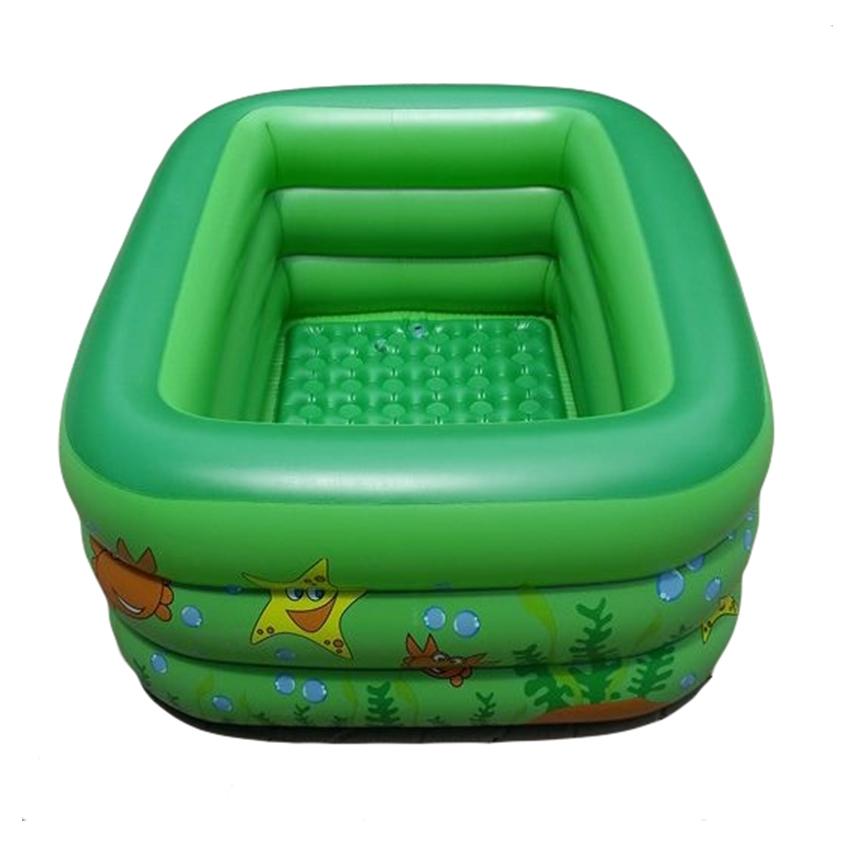 สระน้ำเด็กเป่าลม สีเขียว ลายเพื่อนรักใต้ทะเล ขนาดใหญ่ 160 cm ขอบ 3 ชั้น แถมฟรี ห่วงยางคอเด็ก