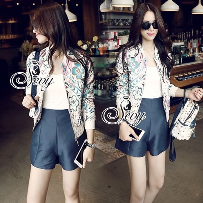 Tropical Printed Sweater Jacket