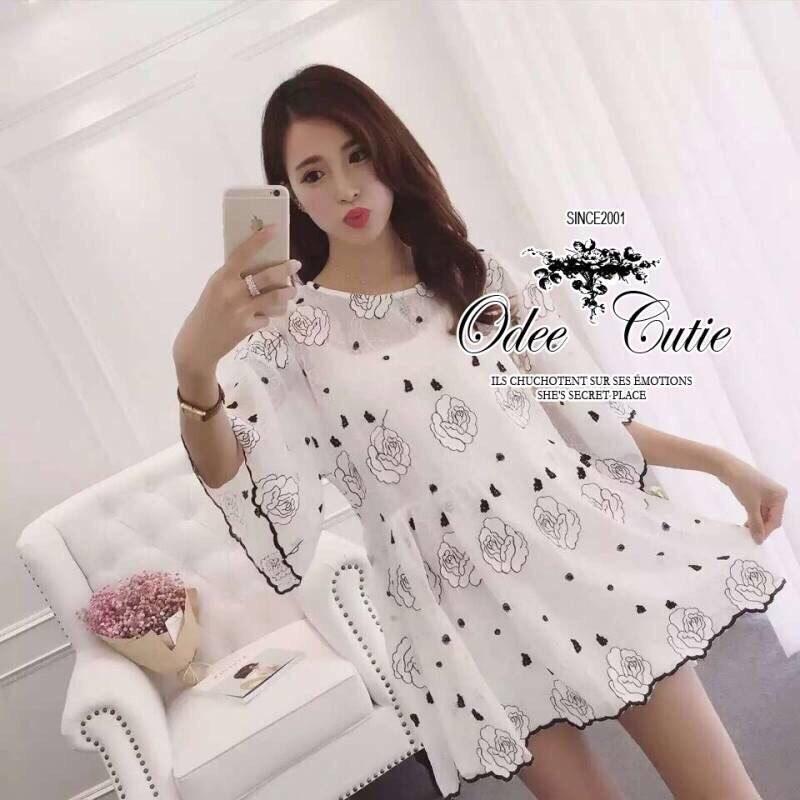 White lace embroidery mini dress