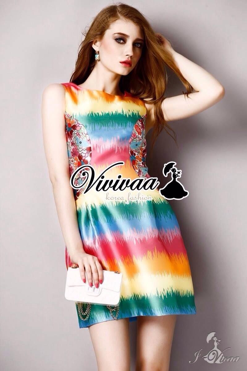 Rainbow A-shape dress เนื้อผ้าโพลีเอสเตอร์เนื้อผ้าขึ้นทรงสวย Detail : เดรสแขนกุดเข้ารูปชายกระโปรงทรงพองนิดๆ + พิมพ์ลายสี Rainbow สีน่ารักมากคะ Style : ลุคสาวหวานเก๋ Fashionista