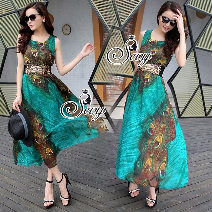 Peacock Graphic Sleeveless Midi Dress (Belt)