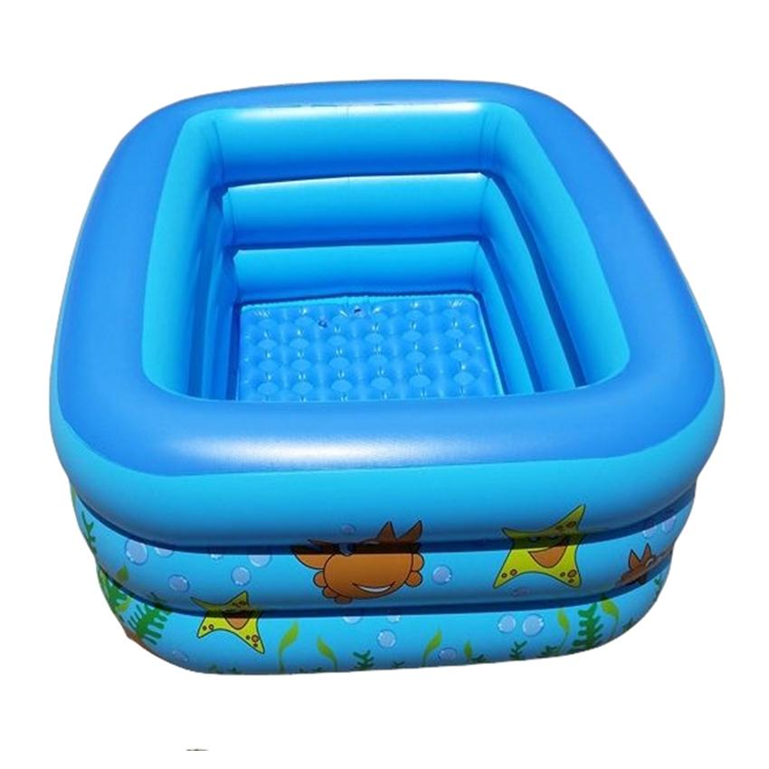 สระน้ำเด็กเป่าลม สีฟ้า ลายเพื่อนรักใต้ทะเล ขนาดใหญ่ 160 cm ขอบ 3 ชั้น แถมฟรี ห่วงยางคอเด็ก