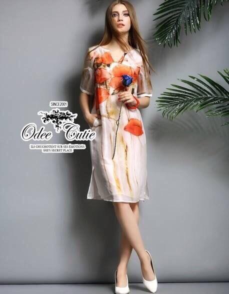 Flowers painting dress