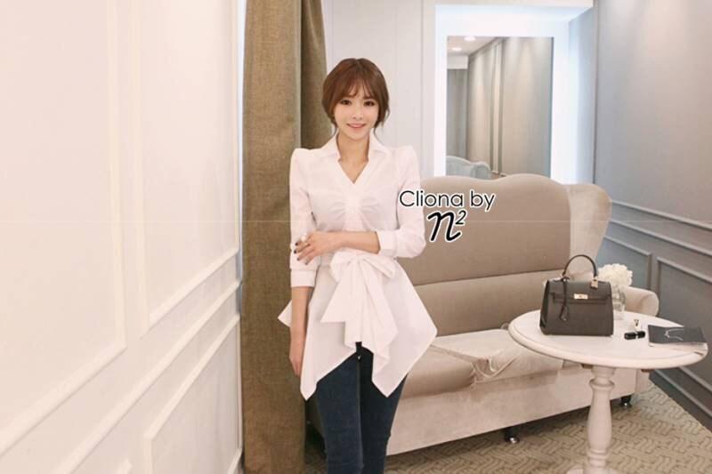 Jess Korean V Collar Dress Shirt