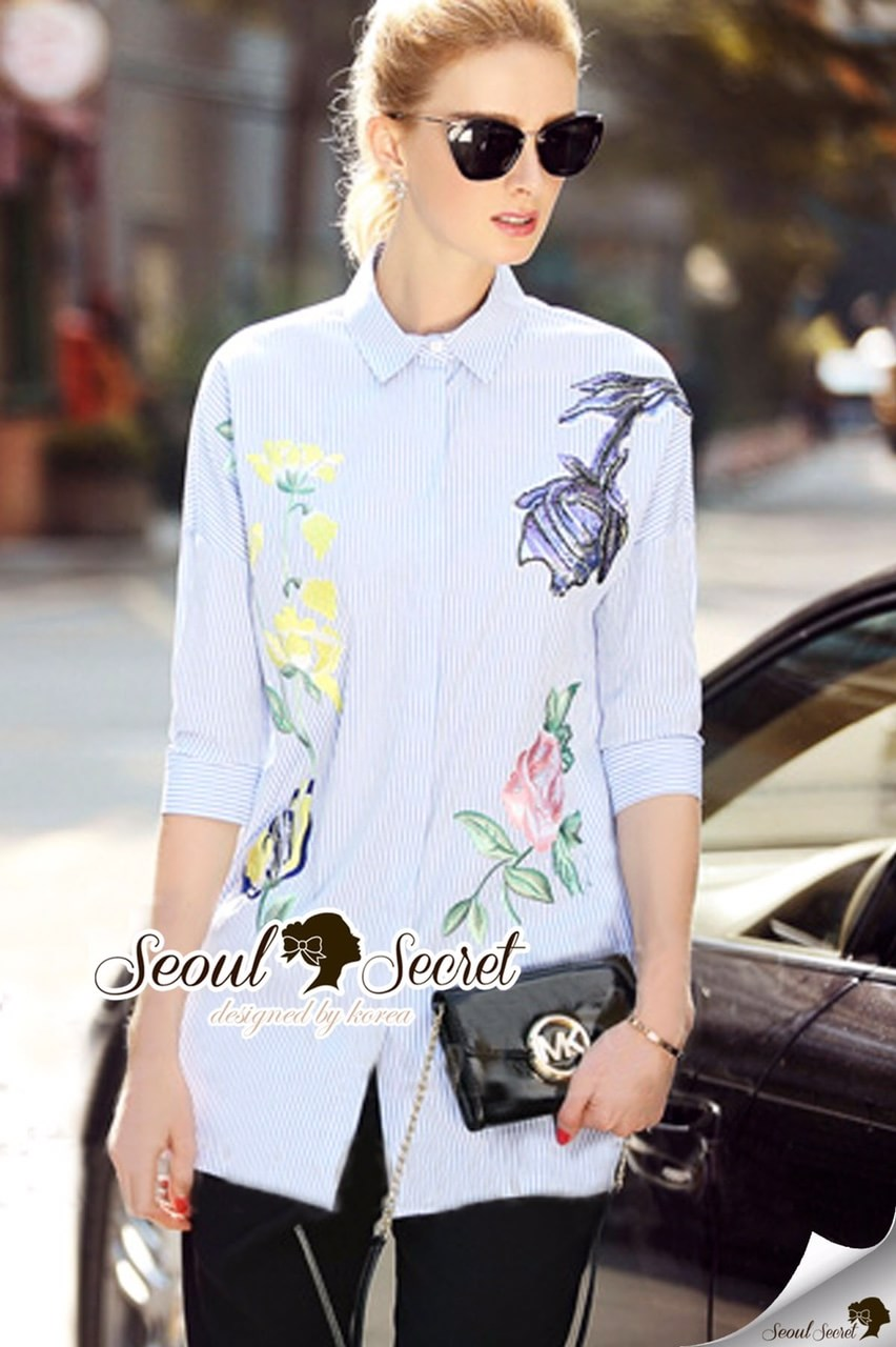 Light Ice Blue Stripy Blossom Shirt