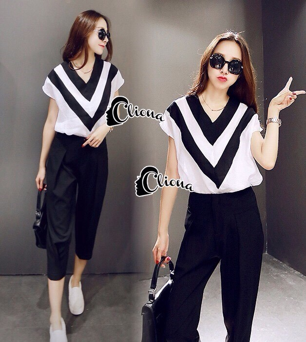 Line Deep V Shirt + Black Pant Set