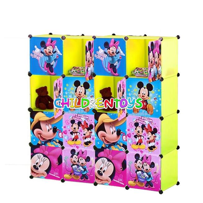 ตู้เสื้อผ้าเด็กพลาสติก DIY ลายมิกกี้ มินนี่ Mickey mouse