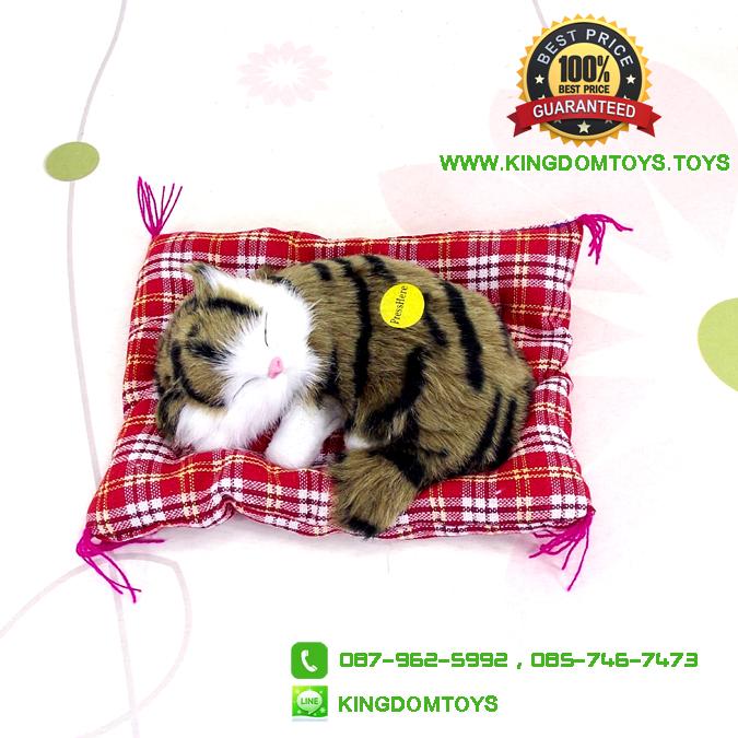 ตุ๊กตาแมวเหมือนจริงนอนหลับ สีเหลืองดำ 14x17 CM