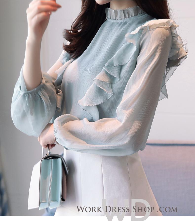 Pre-order เสื้อทำงาน แต่งระบายสวยหวาน เนื้อผ้าซีฟองใส่สบาย ระบายอากาศได้ดี