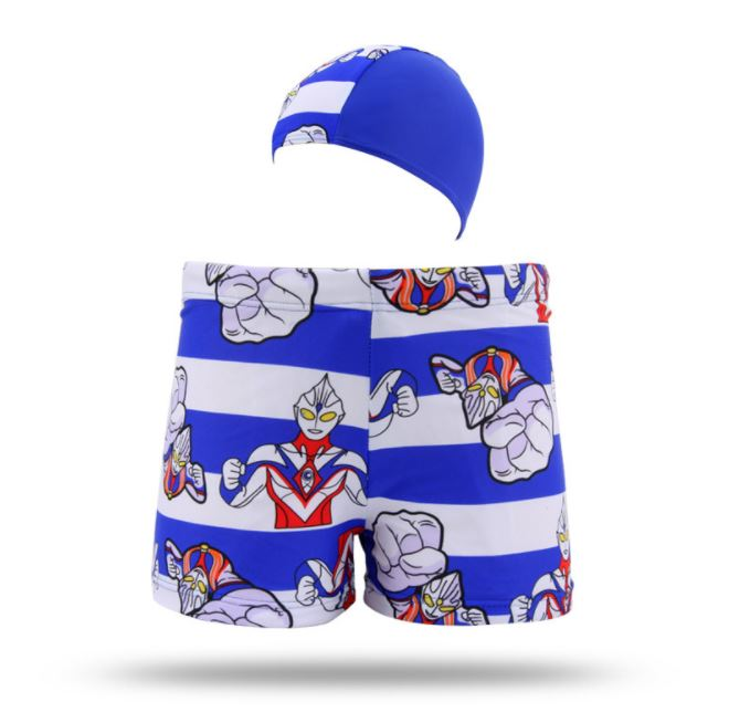 กางเกงว่ายน้ำเด็กชาย ลายอุลตร้าแมน สีน้ำเงิน-ขาว (เอวกางเกงมีเชือกผูกปรับได้) พร้อมหมวก