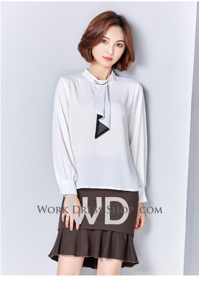 Preorder เสื้อทำงาน สีขาว ผ้าซีฟองแบบหนา เนื้อผ้าระบายอากาศได้ดี
