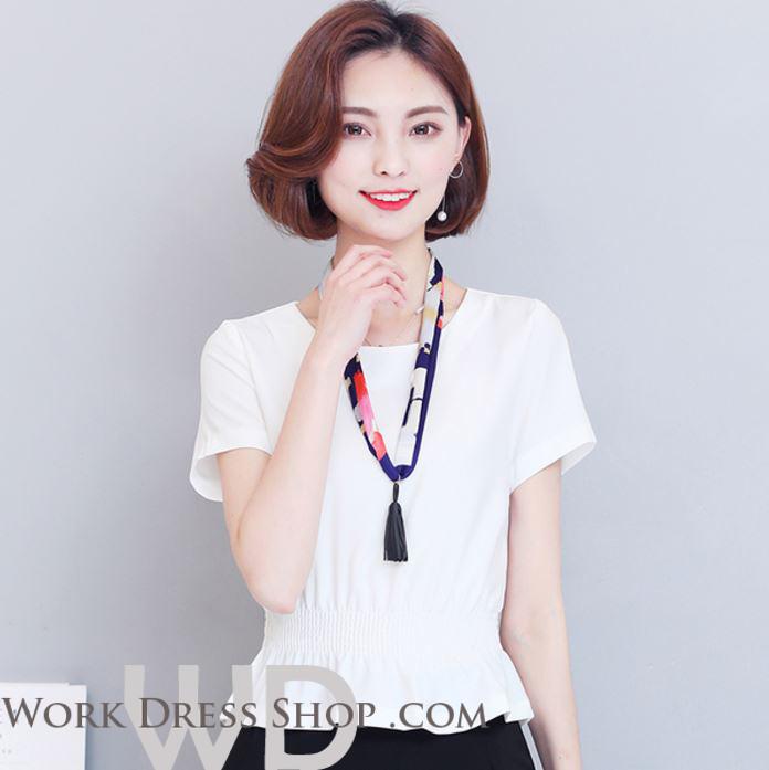 Preorder เสื้อทำงาน สีขาว คอกลม แขนสั้น จั้มเอวเน้นสัดส่วนสวยเก๋สุดๆ ผ้าซีฟอง เนื้อผ้าระบายอากาศได้ดี