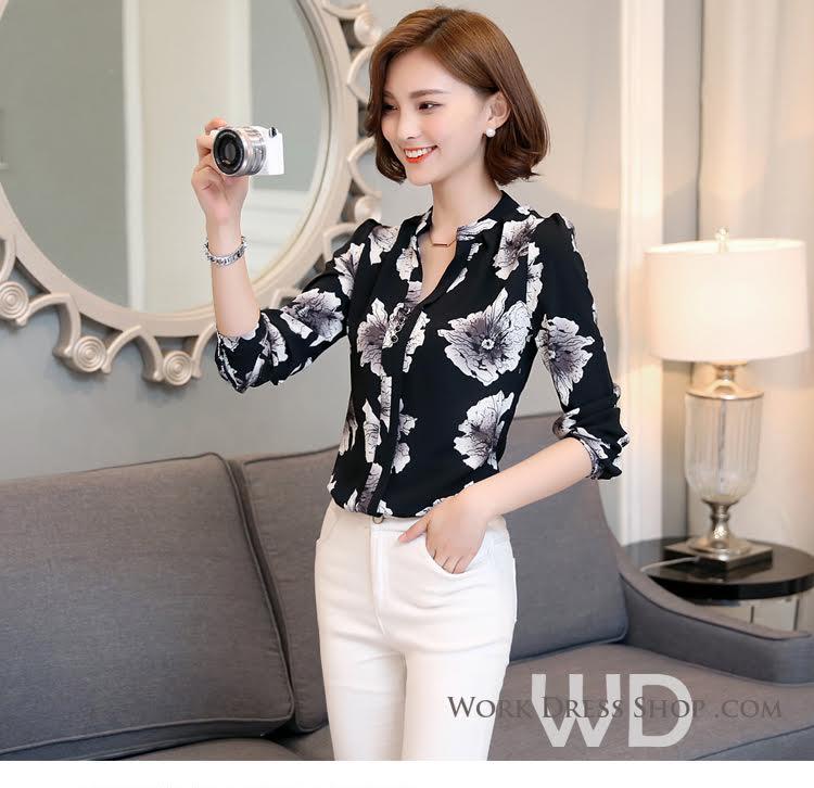 Preorder เสื้อทำงาน สีดำ ลายดอกไม้ คอจีน แขนยาว เนื้อผ้าระบายอากาศได้ดี