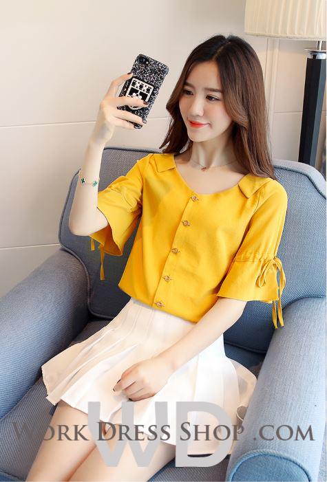 Preorder เสื้อทำงาน สีเหลืองขมิ้น คอปก แขนแต่งระบายสวย สไตล์เกาหลี เนื้อผ้าระบายอากาศได้ดี