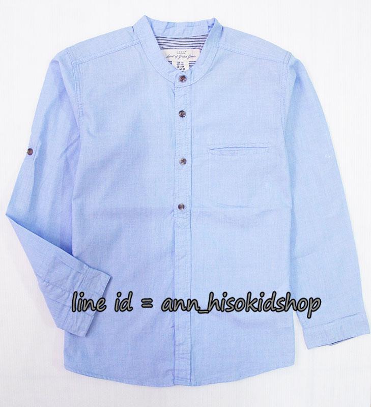 1727 H&M Cotton Shirt - Blue เสื้อเชิ้ตคอจีนสีฟ้า ขนาด 7-8,9-10 ปี