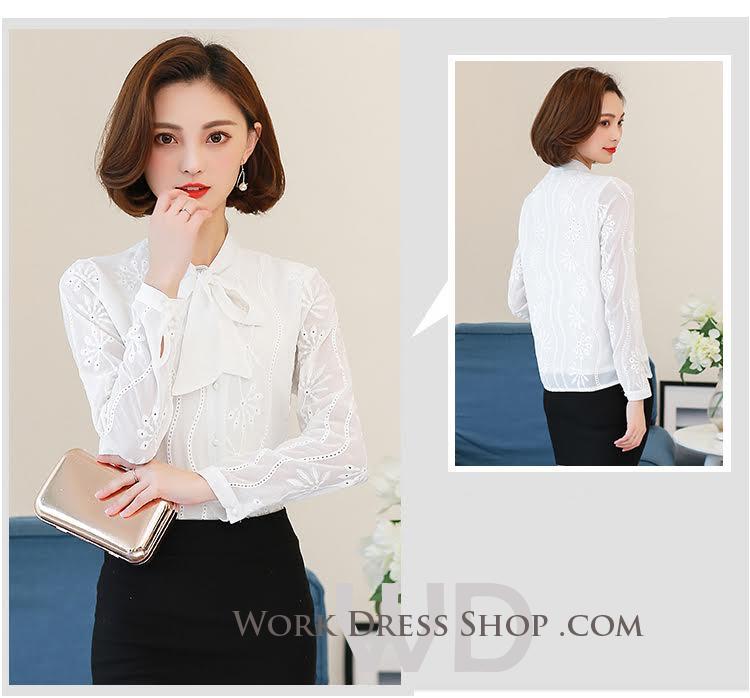 Preorder เสื้อทำงาน สีขาว แต่งโบว์ที่คอ เนื้อผ้าฉลุลายแบบเก๋ๆ