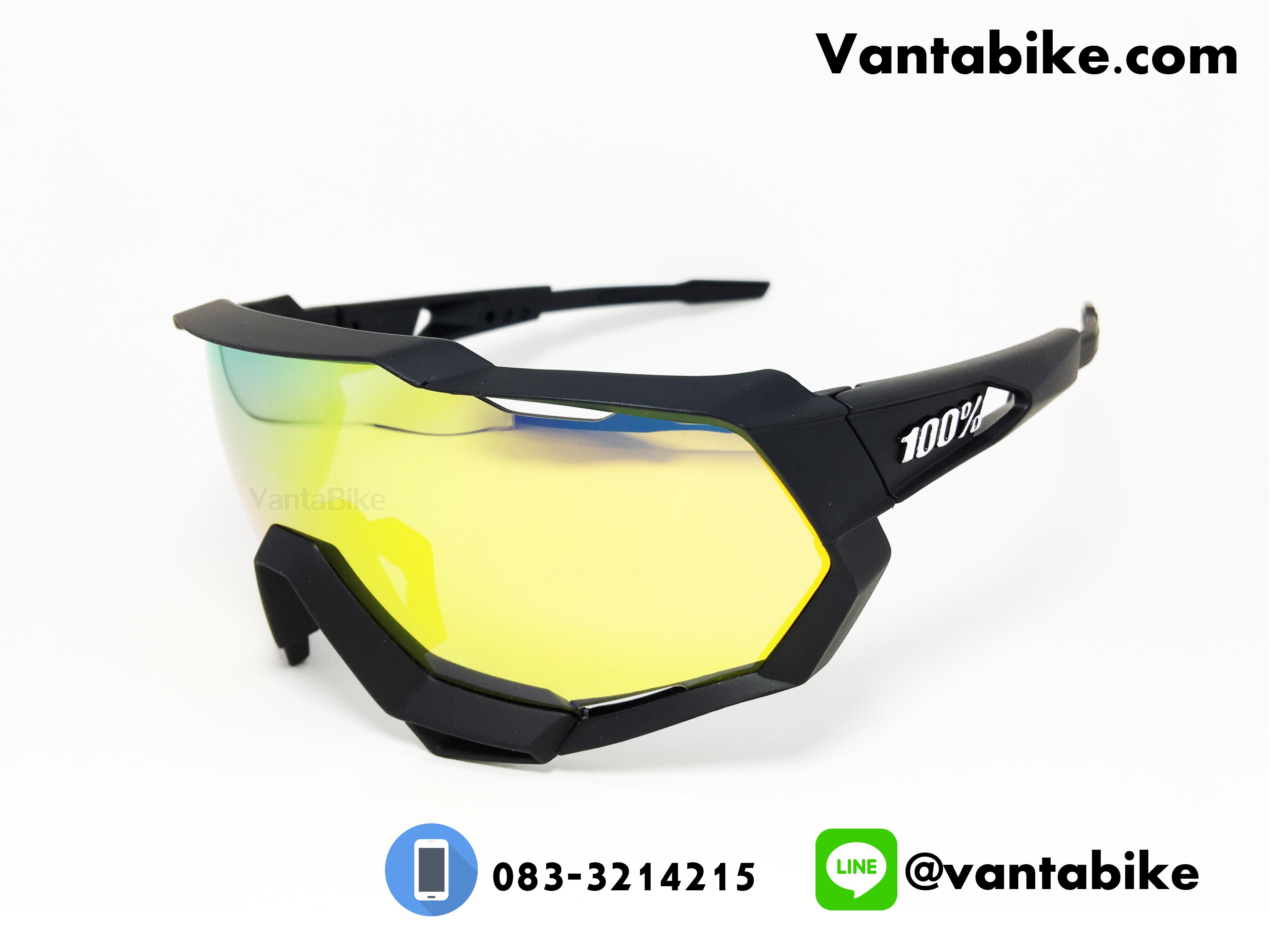 แว่นตาปั่นจักรยาน SPEED TRAP 100% [Black-Yellow]