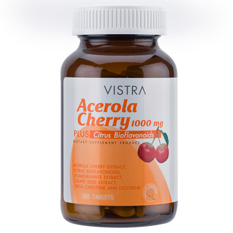 Vistra Acerola Cherry 1000 mg 45 Tabs x 1 PCs. วิสทร้า อะเซโรลาเชอร์รี่ 1000 มก. บรรจุ 45 เม็ด x 1 ขวด