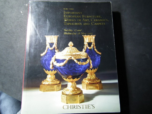 CHRISTIE'S IMPORTANT EUROPEAN FURNITURE,WORKS OF ART,CERAMICS, TAPESTRIES AND CARPETS หนา 520 หน้า ปี 2005