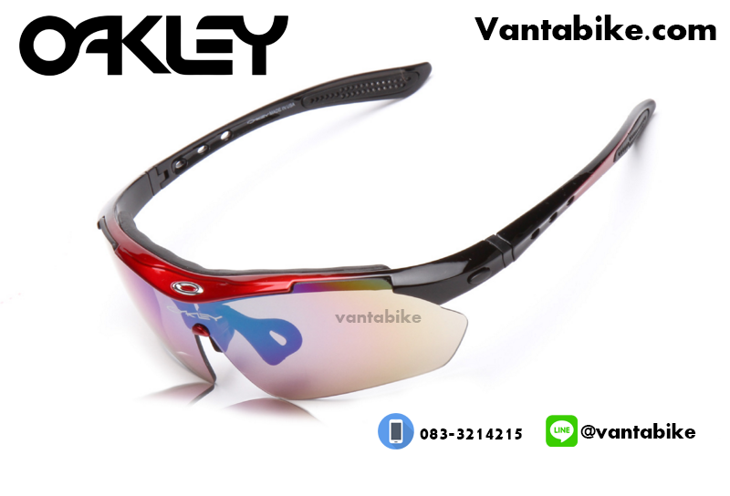 แว่นตาปั่นจักรยาน Oakley รุ่น A0089 [สีแดง-ดำ]