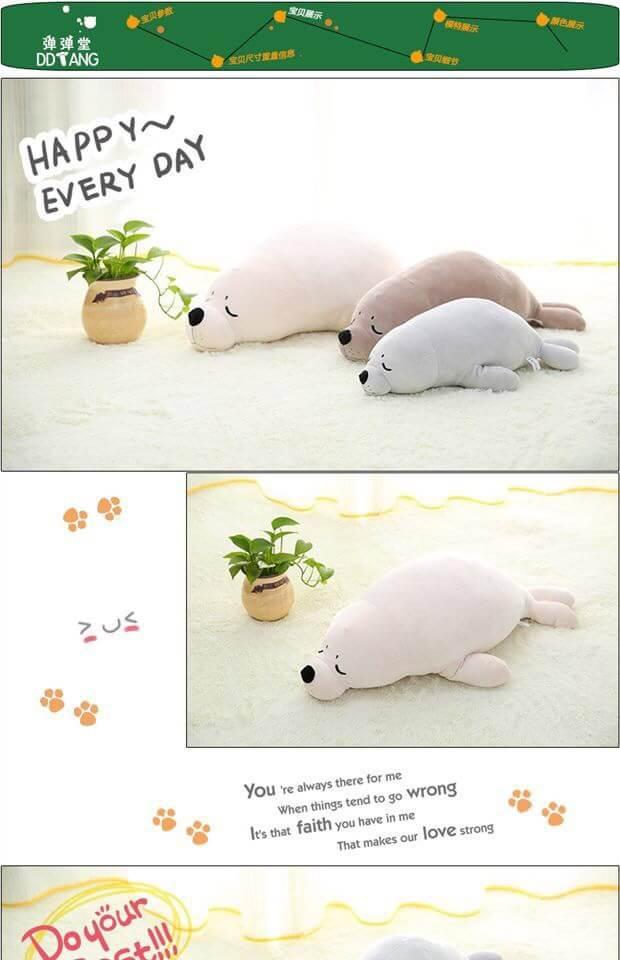 ตุ๊กตาแมวน้ำ ขนนุ่มลื่นไม่ล่วง ไม่อมฝุ่น ขนาดวัดจากจมูก-ขาหลัง75cm
