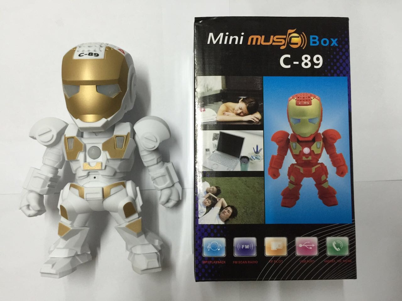 ลำโพง Bluetooth Mini Music Box C-89 Iron Man